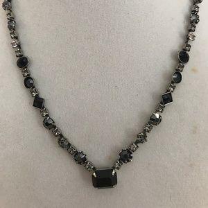 """Sorrelli Dark Blue/Black & Clear Crystal 18"""" Neckl"""